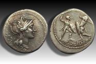 Ancient Coins - AR denarius T. Deidius / Didius, Rome 113-112 B.C. - Rare, one of the few cointypes with a gladiatorial scene -