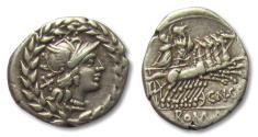Ancient Coins - AR denarius Cn. Gellius, Rome 138 B.C.