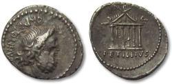 Ancient Coins - AR denarius Petillius Capitolinus, Rome 43 B.C.