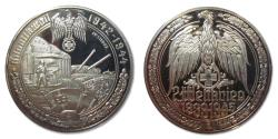 World Coins - 50mm Silver medal WW2: the Atlantic Wall 1942-1944