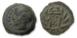 Ancient Coins - Sicily, Himera. AE 17mm Hemilitra. circa 415-409 B.C. - Six pellets within wreath -