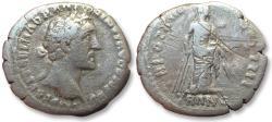 Ancient Coins - AR denarius Antoninus Pius, Rome 150-151 A.D. -- Tranquilitas standing right --