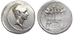 Ancient Coins - AR denarius Octavian / Octavianus, Brundisium or Rome 30-27 B.C. -- victory at battle of Actium --