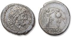 Ancient Coins - AR victoriatus anonymous issue, Rome 211-206 B.C. - beautiful sharp strike -
