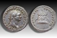Ancient Coins - AR denarius, Domitian / Domitianus, Rome 80-81 A.D. - struck under Titus, with a dot (•) in obverse legend -