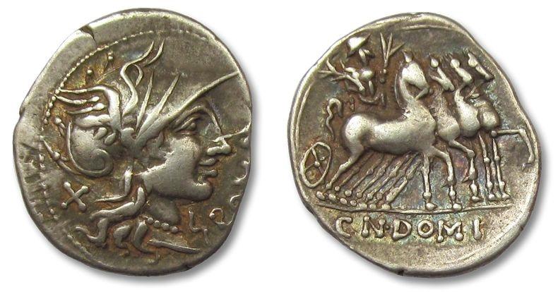 Ancient Coins - HS: AR denarius  Cn. Domitius Ahenobarbus, Q. Curtius, M. Iunius Silanus, Rome 116-115 B.C.
