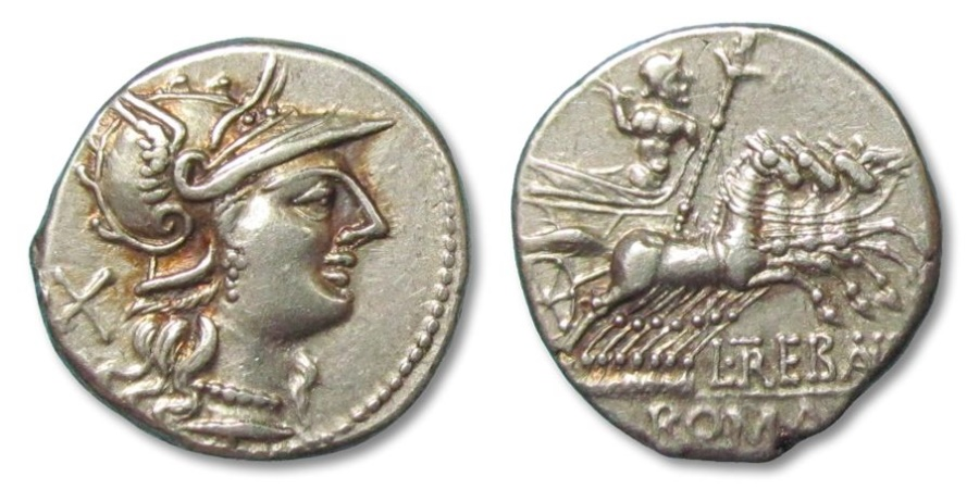 Ancient Coins - AR denarius L. Trebanius, Rome 135 B.C. --gold irridescence on obverse--