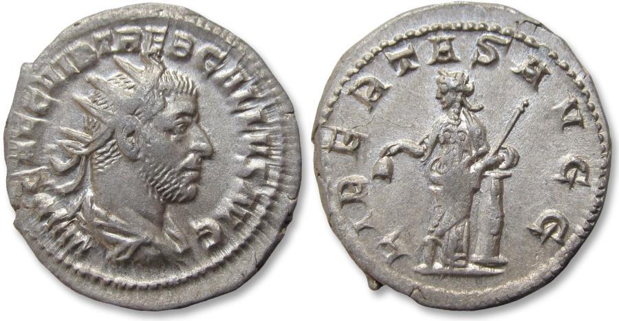 Ancient Coins - AR antoninianus Trebonianus Gallus - high quality coin - Rome mint 252-253 A.D. - LIBERTAS AVGG -