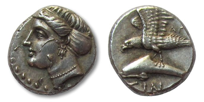 Ancient Coins - AR drachm Paphlagonia, Sinope, 330 - 300 B.C. in stunning condition!