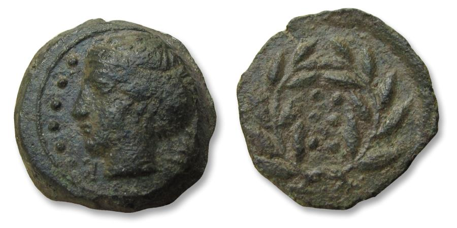 Ancient Coins - Sicily, Himera. AE 17mm Hemilitra. circa 415-409 B.C. - Six pellets within wreath -