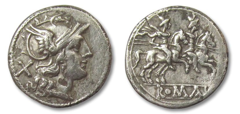 Ancient Coins - HS: AR anonymous denarius, Rome 189-180 B.C.
