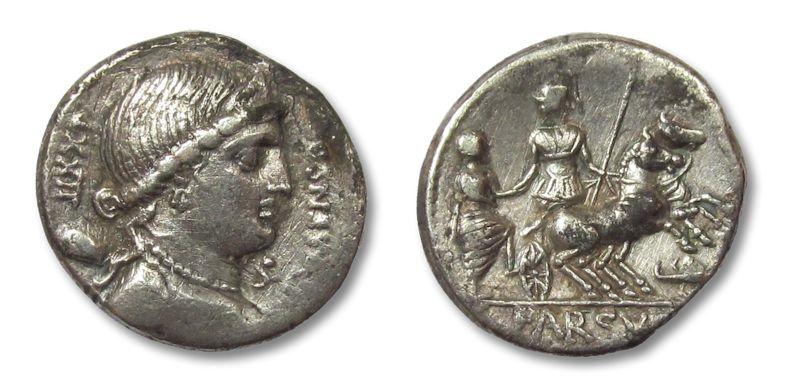 Ancient Coins - HS: AR denarius L. Farsuleius Mensor, Rome 75 B.C.