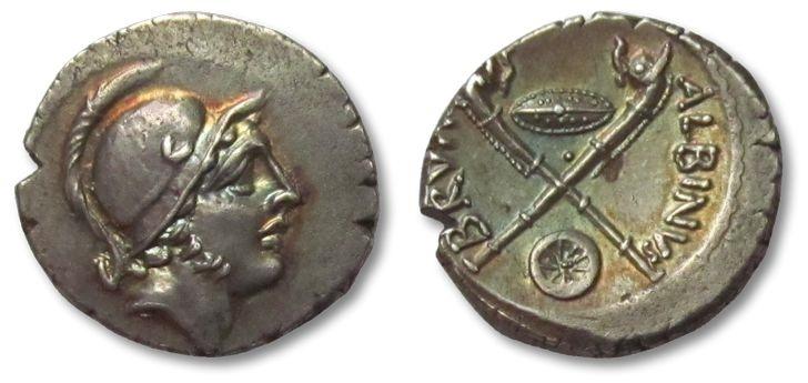 Ancient Coins - AR denarius Albinus Bruti f., Rome 48 B.C. --gold irridescent toning, stunning coin--