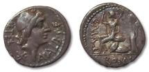 Ancient Coins - HS: AR denarius C. Malleolus, A. Albinus Sp. f. and L. Caecilius Metellus, Rome 96 BC