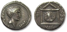 Ancient Coins - AR denarius Marc Antony, Epirus (?) / mobile military mint 42 B.C.