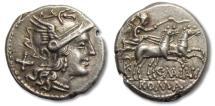 Ancient Coins - AR denarius C. Maianius, Rome 153 B.C. -- superb strike --