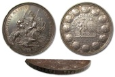 World Coins - AR medal 1706 Great Britain by John Croker, Queen Anne, victories over Louis XIV and the Conquest of Brabant