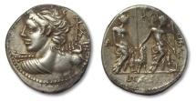 Ancient Coins - AR denarius L. Caesius, Rome 112-111 B.C.