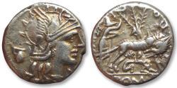 Ancient Coins - AR denarius Sextus Pompeius Faustulus / Fostlus, Rome 137 B.C.