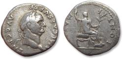 Ancient Coins - AR denarius Vespasian / Vespasianus, Rome min 73 A.D. - PONTIF MAXIM, Vespasian seated right -