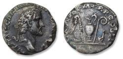 Ancient Coins - AR FOURREE denarius Antoninus Pius, Rome 139 A.D. - priestly implements reverse -