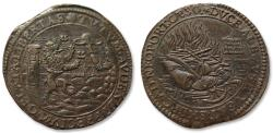World Coins - AE jeton 1600 Spanish Netherlands: Dutch victory battle of Nieuwpoort, peace negotations in Bergen op Zoom