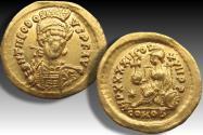 AV gold solidus Theodosius II, Constantinople mint 441-450 A.D. - IMP XXXXII COS XVII P P reverse -