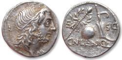 Ancient Coins - AR denarius Cn. Cornelius Lentulus, Spain 76-75 B.C.