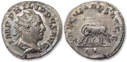 Ancient Coins - AR antoninianus, Philip I 'the Arab' - beautiful condition - Rome mint 248 A.D. - celebrating 1000 years Rome, she-wolf left -