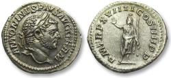 Ancient Coins - AR denarius Caracalla, Rome 216 A.D. -- Serapis standing left, superb coin --