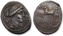 Ancient Coins - AR denarius P. Plautius Hypsaeus - superb high quality coin, testmark obverse - Rome 60 B.C.