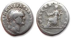 Ancient Coins - AR denarius Vespasianus / Vespasian, Rome 70 A.D. -- Pax seated left --
