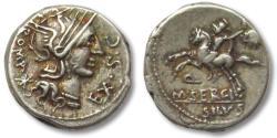 Ancient Coins - AR denarius M. Sergius Silus, Rome 116-115 B.C.