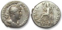 Ancient Coins - AR denarius Hadrian / Hadrianus, Rome 119-122 A.D. - Felicitas seated left -
