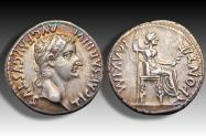 Ancient Coins - AR denarius Tiberius, Lugdunum, 14-37 A.D. -- superb portrait & gold irridescent toning --