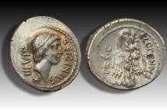 Ancient Coins - AR denarius Q. Sicinius and C. Coponius. Asia Minor 49 B.C. - beautiful gold iridescence -