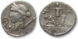 Ancient Coins - AR denarius C. Julius Caesar, military mint in Spain 46-45 B.C. -- beauty --