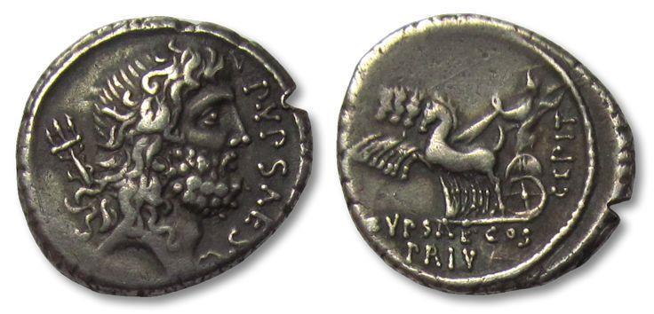 Ancient Coins - AR denarius P. Plautius Hypsaeus, Rome 60 B.C.
