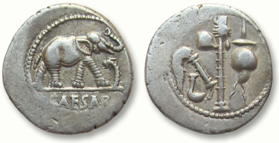 Ancient Coins - AR denarius C. Julius Caesar, military mint travelling with Caesar in Gaul 49-48 B.C.