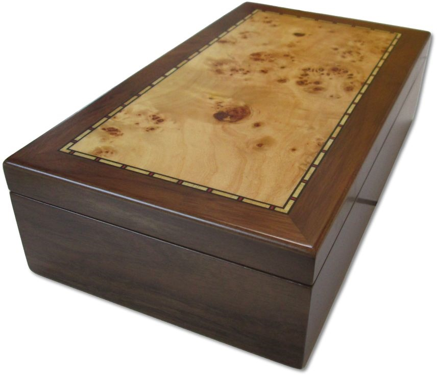 Ancient Coins - Medium sized burr walnut veneered coin case - holds 150 coins up to 37mm -
