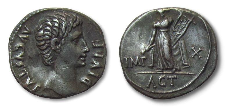 Ancient Coins - HS: AR denarius Augustus, Lugdunum 15-13 B.C.
