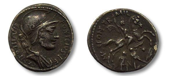 Ancient Coins - AR denarius P. Fonteius P.f. Capito, Rome 55 B.C.