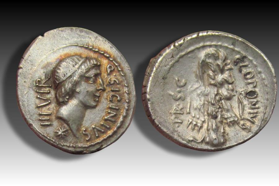 Ancient Coins - AR denarius Q. Sicinius and C. Coponius. Asia Minor 49 B.C. - beautiful gold iridescence -