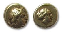 Ancient Coins - EL hekte, Lesbos, Mytilene, 377-326 B.C. -- Apollo and Artemis dual portrait --