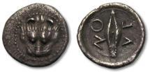 Ancient Coins - AR litra Sicily, Leontinoi 476-466 B.C. --tiny silver fraction--