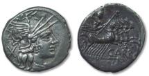 Ancient Coins - HS: AR denarius Cn. Papirius Carbo, Rome 121 B.C.