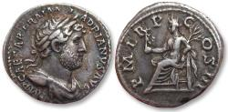 Ancient Coins - AR denarius Hadrian / Hadrianus, Rome 119-122 A.D. - Pax seated left -