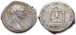 Ancient Coins - Large 24 mm AR tridrachm Trajan / Trajanus - bust variety with slight drapery on shoulder - CAPPADOCIA, Caesaraea-Eusebia 112-117 A.D. - temple with statue of Diana -