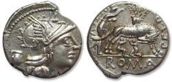 Ancient Coins - AR denarius Sextus Pompeius Faustulus / Fostlus, Rome 137 B.C. -- amazing reverse --