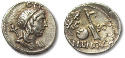 Ancient Coins - AR denarius, Cn. Cornelius Lentulus, Spain 76-75 B.C. - beautiful toning, misstrike/doublestrike on reverse -